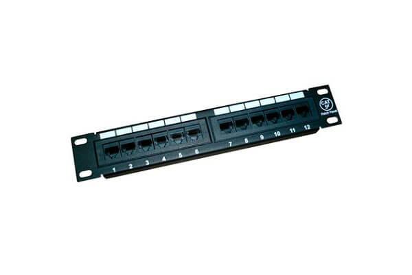 """патч-панель 10"""" 1U 12 портов RJ-45 110 тип Cat.5e"""
